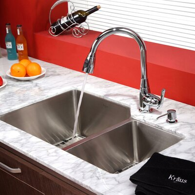Kitchen Combos 32 x 20 Undermount Kitchen Sink with Faucet and Soap Dispenser Finish: Chrome