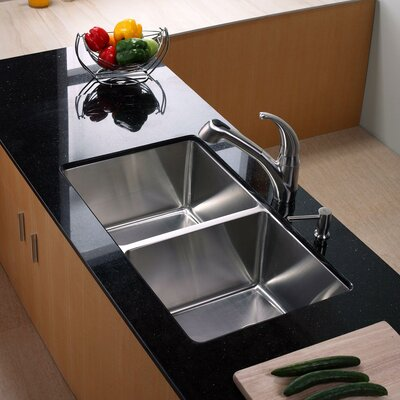Stainless Steel 32.75 x 19 Double Basin Undermount Kitchen Sink with Faucet and Soap Dispenser
