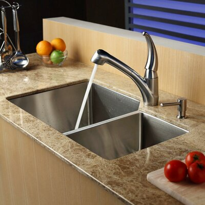 Stainless Steel 32 x 20 Double Basin Undermount Kitchen Sink with Faucet and Soap Dispenser