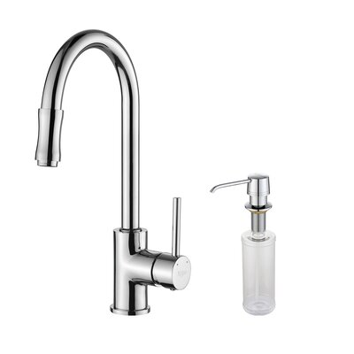 Single Handle Pull Down Kitchen Faucet Set with Spray Dispenser Finish: Chrome