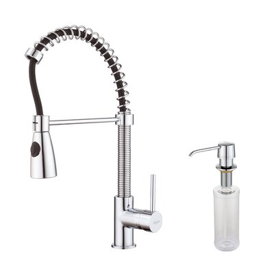 Single Handle Pull Down Kitchen Faucet with Three Function Sprayer and Soap Dispenser   Bathroom Sink Faucet Finish: Chrome