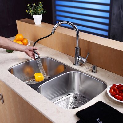 One Handle Single Hole Kitchen Faucet with Soap Dispenser and Pull Out Spray Finish: Chrome
