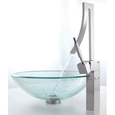 Glass Circular Vessel Bathroom Sink Sink Finish: Clear