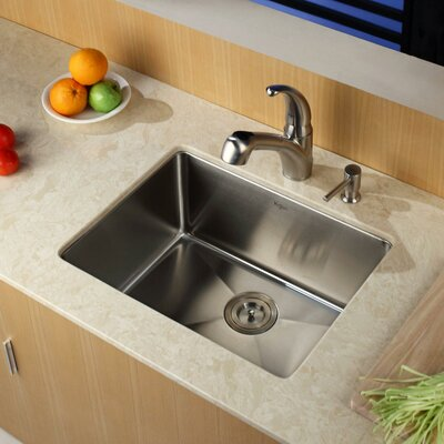 Stainless Steel 23 x 18 Undermount Kitchen Sink with Faucet and Soap Dispenser