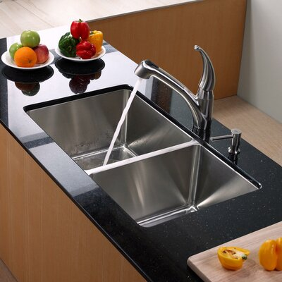 Stainless Steel 32.75 x 19 8 Piece Double Basin Undermount Kitchen Sink Set with Kitchen Faucet and Soap Dispenser