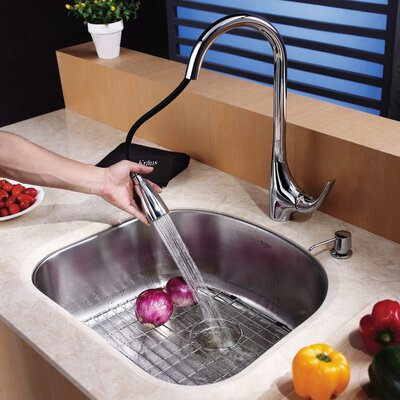 Stainless Steel 23.25 x 20.88 Undermount Kitchen Sink with Faucet and Soap Dispenser Faucet Finish: Chrome