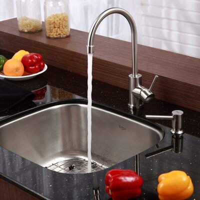 Stainless Steel 20 x 17.75 Undermount Kitchen Sink with Faucet and Soap Dispenser