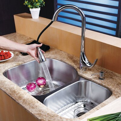 Stainless Steel 31.5 x 20.5 8 Piece Double Basin Undermount Kitchen Sink Set with Faucet and Soap Dispenser Faucet Finish: Chrome