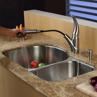 Stainless Steel 32.25 x 18.5 Double Basin Undermount Kitchen Sink with Faucet and Soap Dispenser