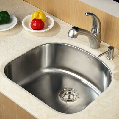 Stainless Steel 23 x 21 Undermount Kitchen Sink with Faucet and Soap Dispenser