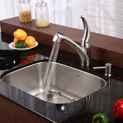 Stainless Steel 23 x 17.6 6 Piece Undermount Kitchen Sink Set with Kitchen Faucet and Soap Dispenser