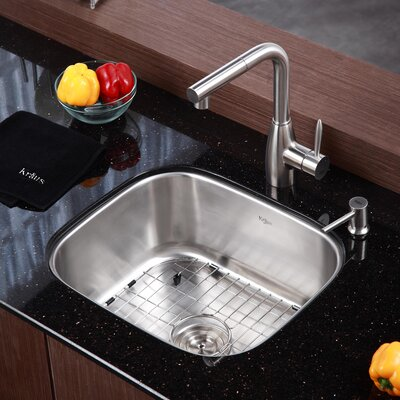 20 x 17.75 Single Bowl Undermount Kitchen Sink with Faucet