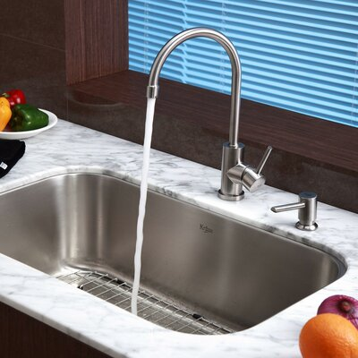 Stainless Steel 31.5 x 18.38 6 Piece Undermount Kitchen Sink Set with Kitchen Faucet and Soap Dispenser