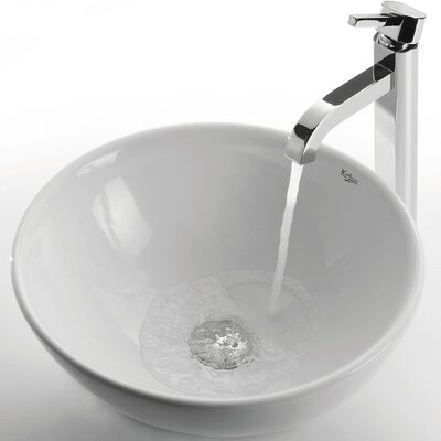 Ceramic Circular Vessel Bathroom Sink Faucet Finish: Chrome