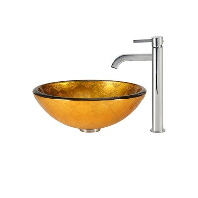 Orion Glass Circular Vessel Bathroom Sink Faucet Finish: Chrome