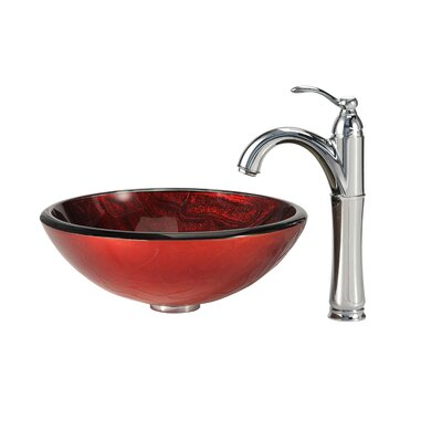 Charon Glass Circular Vessel Bathroom Sink Faucet Finish: Chrome