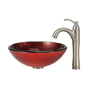 Charon Glass Circular Vessel Bathroom Sink Faucet Finish: Satin Nickel