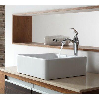 Ceramic Sqaure Vessel Bathroom Sink Faucet Finish: Chrome