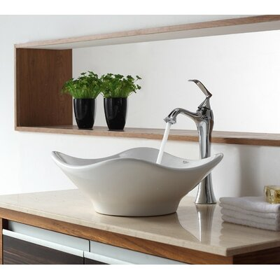 Bathroom Combos Ceramic Specialty Vessel Bathroom Sink with Faucet Finish: Chrome