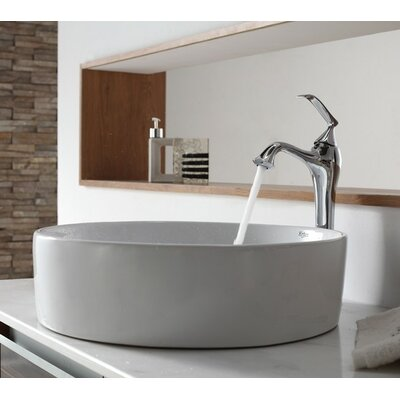 Ceramic Circular Vessel Bathroom Sink Faucet Finish: Chrome