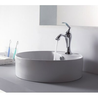 Bathroom Combos Circular Vessel Bathroom Sink with Overflow Faucet Finish: Chrome