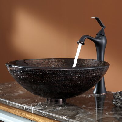 Ventus Glass Circular Vessel Bathroom Sink with Faucet