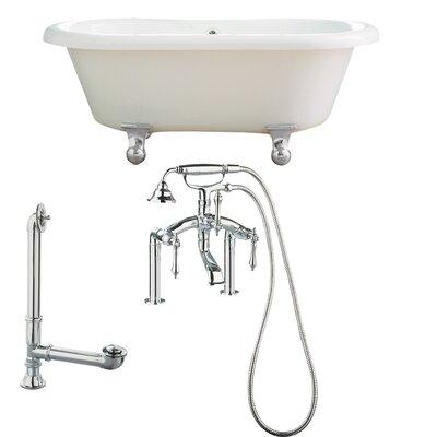 Portsmouth 60 x 31 Dual Soaking Bathtub Metal Finish: Polished Chrome, Finish: White