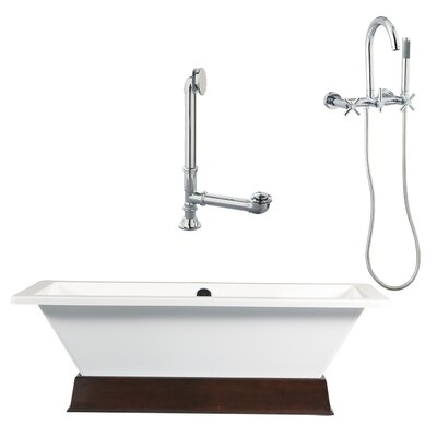 Tella Contemporary Soaking Bathtub and Wall Mount Faucet