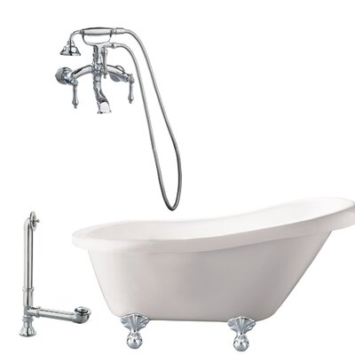 Newton Soaking Bathtub Metal Finish: Polished Chrome, Finish: White
