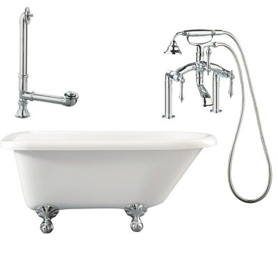 Augusta Roll Top Soaking Bathtub Metal Finish: Polished Chrome, Finish: White