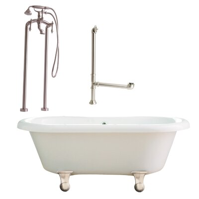 Portsmouth Dual Soaking Bathtub Metal Finish: Satin Nickel, Finish: White