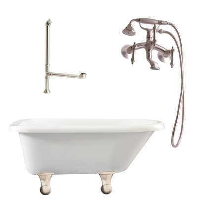 Brighton Roll Top Bathtub Faucet Finish: Satin Nickel, Tub Finish: White