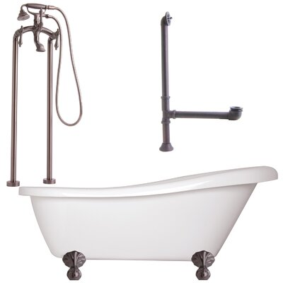Newton Soaking Bathtub Metal Finish: Satin Nickel, Finish: White