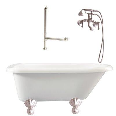 Augusta Roll Top Soaking Bathtub Metal Finish: Satin Nickel, Finish: White