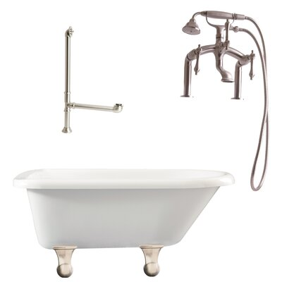 Brighton Roll Top Soaking Bathtub Metal Finish: Satin Nickel, Finish: White