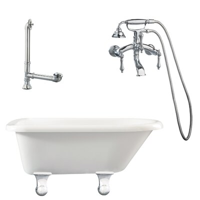Brighton Roll Top Soaking Bathtub Metal Finish: Polished Chrome, Finish: White