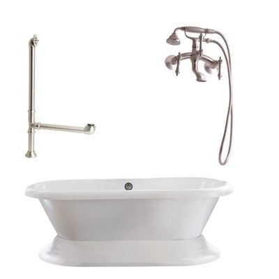 Wescott Dual Soaking Bathtub Metal Finish: Satin Nickel, Finish: White