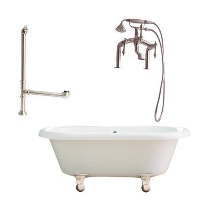 Portsmouth 60 x 31 Dual Soaking Bathtub Metal Finish: Satin Nickel, Finish: White