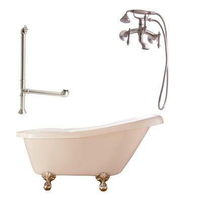 Newton Soaking Bathtub Metal Finish: Satin Nickel, Finish: White