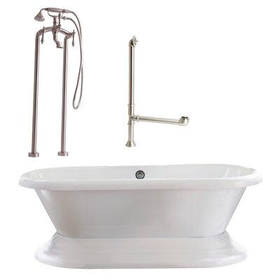 Wescott Dual Soaking Bathtub Metal Finish: Satin Nickel, Finish: White
