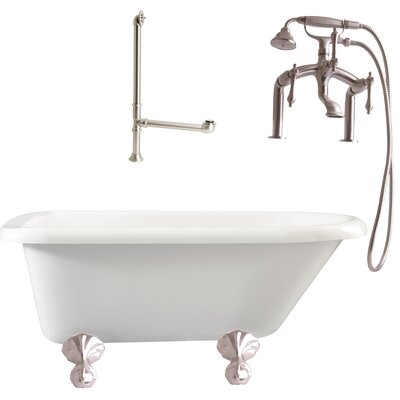 Augusta Roll Top Soaking Bathtub Metal Finish: Satin Nickel, Finish: White
