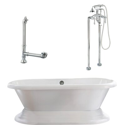 Wescott Dual Soaking Bathtub Metal Finish: Polished Chrome, Finish: White