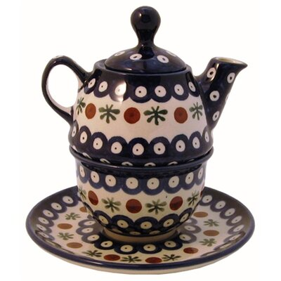 Euroquest Imports Polish Pottery 10 oz Tea for One Teapot & Saucer - Pattern 41A