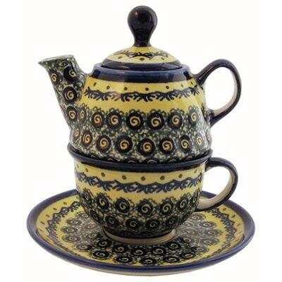 Euroquest Imports Polish Pottery 10 oz Tea for One Teapot & Saucer - Pattern DU1