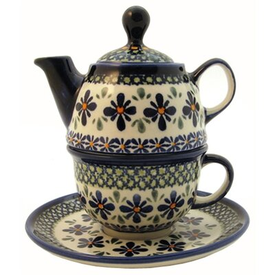 Euroquest Imports Polish Pottery 10 oz Tea for One Teapot & Saucer - Pattern DU60