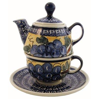 Euroquest Imports Polish Pottery 10 oz Tea for One Teapot & Saucer - Pattern DU8