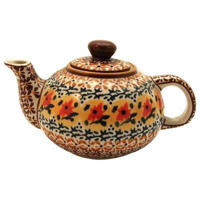 Euroquest Imports Polish Pottery 14 oz Teapot - Pattern DU70