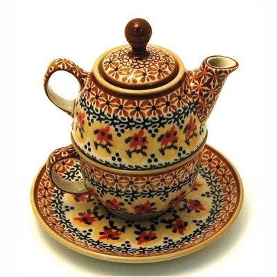 Euroquest Imports Polish Pottery 10 oz Tea for One Teapot & Saucer - Pattern DU70