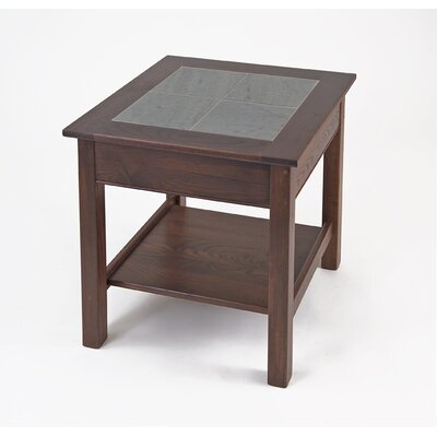 Cheap Manchester Wood Slate Top End Table with Shelf in Chestnut (MWO1073)