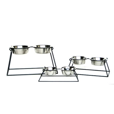Pyramid Double Diner Color: Black, Capacity: Small (1 qt.)